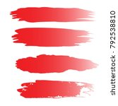 set of hand painted red brush... | Shutterstock .eps vector #792538810