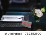 reserved table in the... | Shutterstock . vector #792553900
