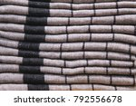 a stack of striped fabric.... | Shutterstock . vector #792556678