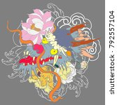 japanese old dragon tattoo for... | Shutterstock .eps vector #792557104