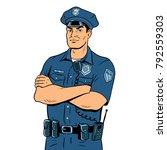 Policeman Pop Art Retro Vector...