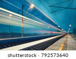 light trail of the express... | Shutterstock . vector #792573640