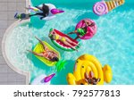 happy people partying in an... | Shutterstock . vector #792577813