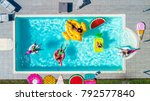 happy people partying in an... | Shutterstock . vector #792577840