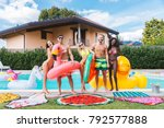 multiracial group of friends... | Shutterstock . vector #792577888