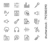 music vector line icons set
