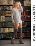 beautiful blonde model posing... | Shutterstock . vector #792587959