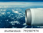 engine of the on sky plane... | Shutterstock . vector #792587974
