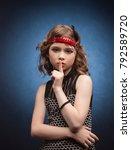 beautiful little fashion model... | Shutterstock . vector #792589720