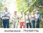 group of senior people with... | Shutterstock . vector #792589756
