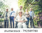group of senior people with... | Shutterstock . vector #792589780