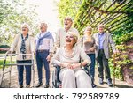 group of senior people with... | Shutterstock . vector #792589789