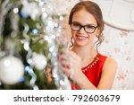 beautiful fashion model wearing ... | Shutterstock . vector #792603679