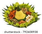 portrait of nasi tumpeng for... | Shutterstock . vector #792608938