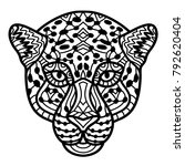 hand drawn cheetah with ethnic... | Shutterstock .eps vector #792620404
