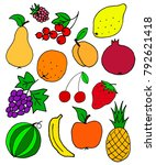 many fresh fruit doodle  summer ... | Shutterstock . vector #792621418