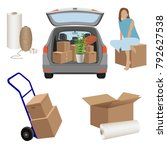 house relocation   estate car... | Shutterstock .eps vector #792627538