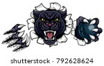 a black panther angry animal... | Shutterstock .eps vector #792628624