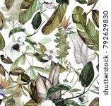 seamless watercolor pattern... | Shutterstock . vector #792629830