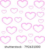 vector hand drawn pink heart on ... | Shutterstock .eps vector #792631000