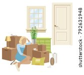 home packing and moving... | Shutterstock .eps vector #792631948