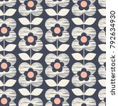 seamless retro pattern with... | Shutterstock .eps vector #792634930