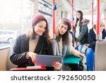students in public transport | Shutterstock . vector #792650050