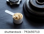 scoop filled with protein... | Shutterstock . vector #792650713