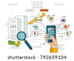state taxes. tax payment.... | Shutterstock .eps vector #792659104