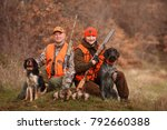 hunters with dogs hunting a... | Shutterstock . vector #792660388