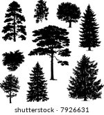 collection of pine trees | Shutterstock .eps vector #7926631