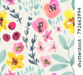 seamless watercolor floral... | Shutterstock . vector #792663994