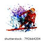 vector watercolor silhouette... | Shutterstock .eps vector #792664204
