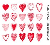 sketch set of red hearts shapes ...   Shutterstock .eps vector #792667849