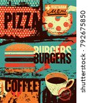 pizza  burgers  coffee.... | Shutterstock .eps vector #792675850