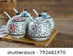 japanese hand painted ceramic...   Shutterstock . vector #792681970