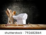cook hat and wooden table of...   Shutterstock . vector #792682864