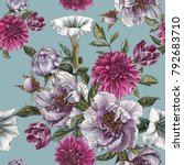 Stock photo floral seamless pattern with watercolor peonies datura flower dahlias and tulips 792683710