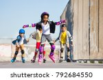 cute african girl rollerblading ... | Shutterstock . vector #792684550