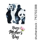 panda bear and the baby... | Shutterstock . vector #792702388