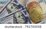 bitcoins with us banknotes and... | Shutterstock . vector #792703558