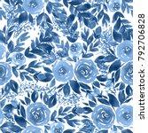 seamless watercolor pattern... | Shutterstock . vector #792706828