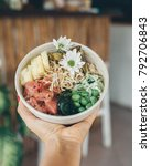 poke bowl with raw fish and... | Shutterstock . vector #792706843