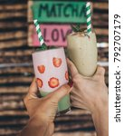 green matcha smoothie drink... | Shutterstock . vector #792707179
