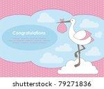 baby girl announcement card.... | Shutterstock .eps vector #79271836
