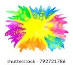 happy holi banner. border frame ... | Shutterstock .eps vector #792721786