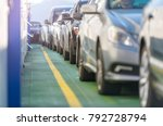 cars waiting in line on deck of ... | Shutterstock . vector #792728794