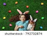 happy easter card. cute little...   Shutterstock . vector #792732874