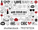 hand drawn girly icon set.... | Shutterstock .eps vector #792737224