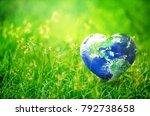 earth in heart shape on green... | Shutterstock . vector #792738658